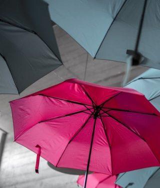 Regenschirme. Symbol für finanzielle Rettungsschirme.