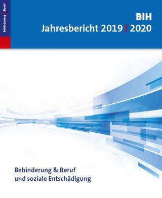 Cover vom BIH Jahresbericht. Eine abstrakte Grafik darauf. Text: Behinderung, Beruf und soziale Entschädigung
