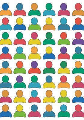 Ungefähr 50 Personen Icons, deren Oberkörper und Köpfe alle verschiedene Farben haben. Sie verkörpern Inklusion.