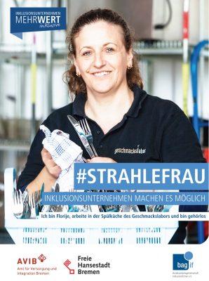 Kampagnenbild mit der #Strahlefrau: Ich bin Florije, arbeite in der Spülküch des Geschmackslabors und bin gehörlos.